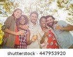 portrait of happy friends... | Shutterstock . vector #447953920