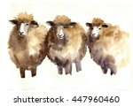 Watercolor Sheep  Hand Drawn...
