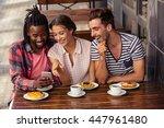 friends using smartphone...   Shutterstock . vector #447961480
