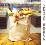 the shopping bag with food and... | Shutterstock . vector #447965950