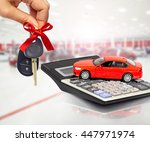 red car and calculator. | Shutterstock . vector #447971974