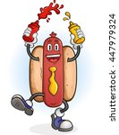 hot dog squirting ketchup and... | Shutterstock .eps vector #447979324