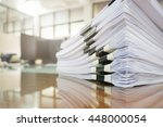pile of unfinished documents on ... | Shutterstock . vector #448000054