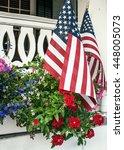American Flags In Flowers On...