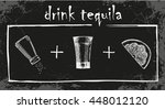 how to drink tequila. glass of... | Shutterstock .eps vector #448012120