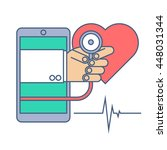 heart pulse examination by... | Shutterstock .eps vector #448031344