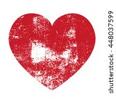 vector grunge red heart with... | Shutterstock .eps vector #448037599