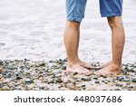 legs of gay couple kissing on... | Shutterstock . vector #448037686