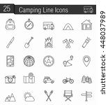 25 camping line icons  vector... | Shutterstock .eps vector #448037989