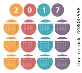 2017 calendar in colored... | Shutterstock .eps vector #448037998