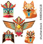 totem pole design with animals... | Shutterstock .eps vector #448042618
