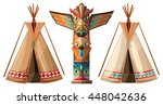 set of teepees and totem pole... | Shutterstock .eps vector #448042636