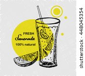 hand drawn poster with lemonade.... | Shutterstock .eps vector #448045354