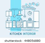 modern kitchen interior design. ... | Shutterstock .eps vector #448056880