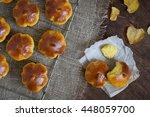 homemade pumpkin bread buns.... | Shutterstock . vector #448059700