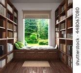 home reading concept. wooden... | Shutterstock . vector #448067080