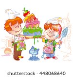 two little chefs cooked up a... | Shutterstock .eps vector #448068640