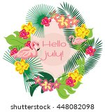 summer card wreath with... | Shutterstock .eps vector #448082098