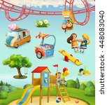children playground  outdoor... | Shutterstock .eps vector #448083040