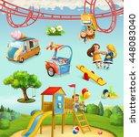 children playground  outdoor... | Shutterstock .eps vector #448083040