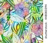 floral watercolor seamless... | Shutterstock . vector #448083394