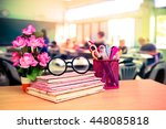 books and office tools with... | Shutterstock . vector #448085818