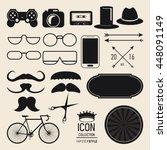 icon set. hipster style design. ... | Shutterstock .eps vector #448091149