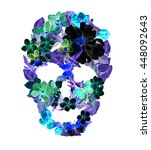 Skull With Flowers In Neon...