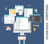web design and web developer...   Shutterstock .eps vector #448093660