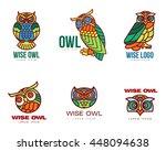 set of colorful owl logo...