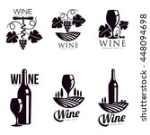 set of elegant wine logo... | Shutterstock .eps vector #448094698