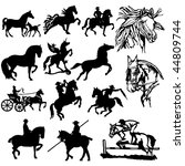 horse silhouettes   vector.... | Shutterstock .eps vector #44809744