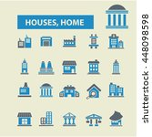 houses  home icons | Shutterstock .eps vector #448098598