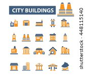 city buildings icons | Shutterstock .eps vector #448115140