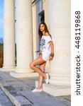 beautiful young brunette girl... | Shutterstock . vector #448119868
