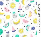 vector seamless cute summer... | Shutterstock .eps vector #448126324