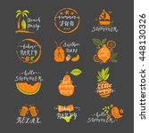 set of hand drawn labels and... | Shutterstock .eps vector #448130326