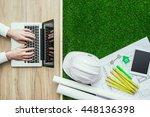 engineer designing a green...   Shutterstock . vector #448136398