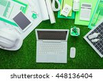 eco house projects  work tools... | Shutterstock . vector #448136404