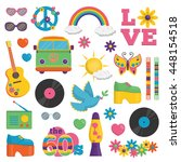 collection of vintage retro... | Shutterstock .eps vector #448154518