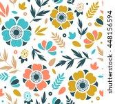 flower seamless pattern. floral ... | Shutterstock .eps vector #448156594