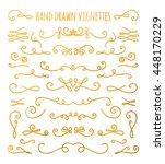 set of gold textured hand drawn ... | Shutterstock .eps vector #448170229