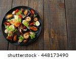 Grilled Seafood Salad On Wood...