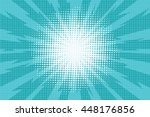 Stock vector blue pop art retro background with exploding rays of lightning comic style vector illustration 448176856