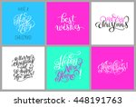 set of colorful hand lettering... | Shutterstock .eps vector #448191763