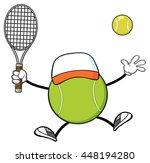 tennis ball faceless player... | Shutterstock .eps vector #448194280