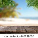 empty wooden planks with blur... | Shutterstock . vector #448210858