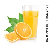 Small photo of Isolated orange juice with slices of oranges on white background. 100 percent fresh and organic. Sweet juicy cocktail in glass. Natural antioxidant.