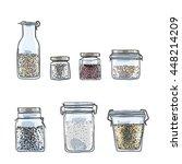 jars  bottles of spices hand... | Shutterstock . vector #448214209