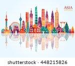 asia skyline detailed... | Shutterstock .eps vector #448215826